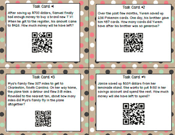 QR Codes - Adding/Subtracting/Rounding/Estimating