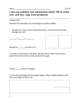 Adding and Subtracting within 100 Assessment