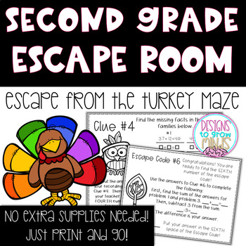 Adding and Subtracting within 100 Escape Room Activity- Second Grade