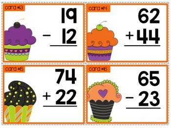 Adding and Subtracting within 100 {Halloween style task cards}