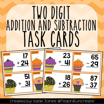 Adding and Subtracting within 100 Halloween style task cards