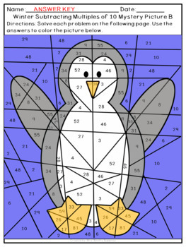 Adding and Subtracting within 100 & with Multiples of 10 Winter Mystery Pictures