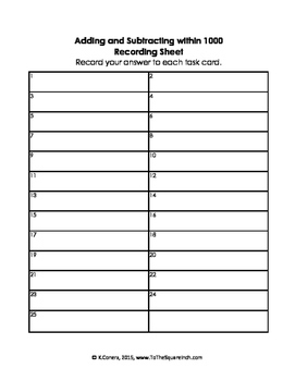 Adding and Subtracting within 1000 Bingo