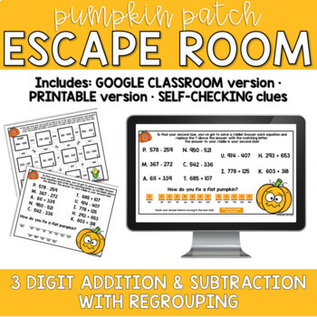 Adding and Subtracting within 1000 FALL PUMPKIN ESCAPE ROOM