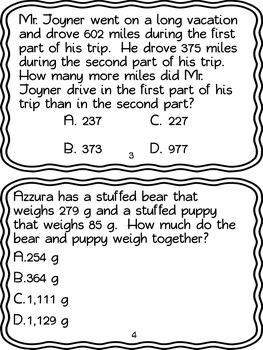 #tptsouth Adding and Subtracting within 1000  Word Problem Task Cards 3.NBT.2