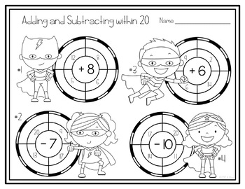 Adding and Subtracting within 20 Task Cards & NO PREP Printable Puzzles