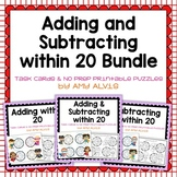 Adding and Subtracting within 20 Task Cards & NO PREP Printable Puzzles Bundle