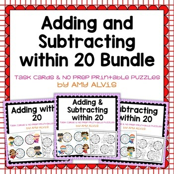 Adding and Subtracting within 20 Task Cards & NO PREP Prin