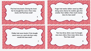 One Step Adding and Subtracting within 20 Word Problem Task Cards