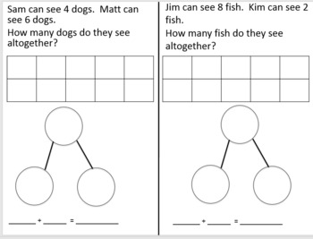 Adding and Subtracting word problems with number bond ten frame equation
