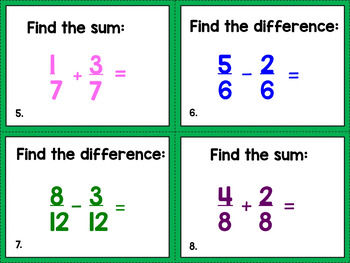 Adding and Subtraction Fractions Task Cards