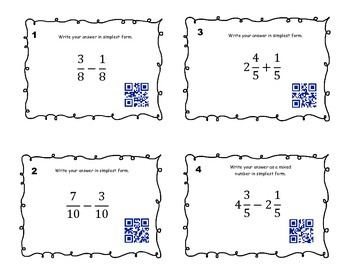 Adding and SubtractingFractions Like Denominators - Task Cards and QR Codes