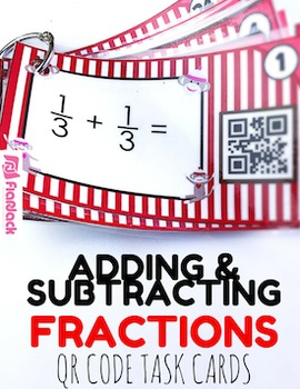 Adding and Subtraction Fractions Sock Monkeys QR Code Fun - 4.NF.3