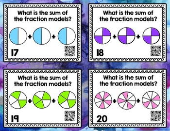 Adding and Subtracting Fractions with Like Denominators Task Card Bundle
