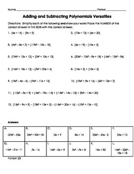 Adding and Subtraction Polynomials Versatiles