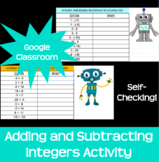 Adding and/or Subtracting Integers Activity Google Classro
