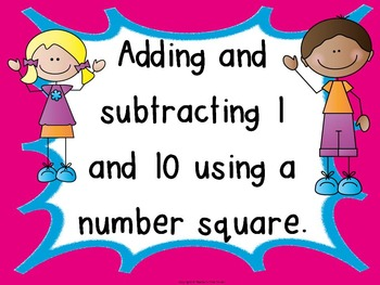 Adding and subtracting 1 and 10 using a number square