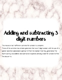 Adding and subtracting 3 digit numbers from 10