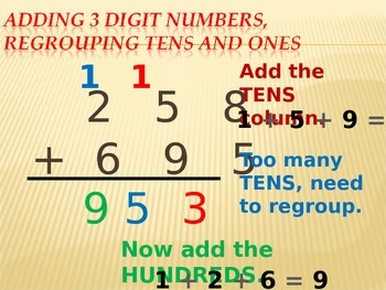 Adding and subtracting 3 digit numbers with regrouping