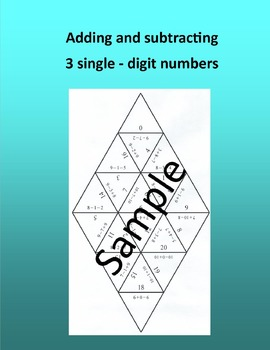 Adding and subtracting 3 single – digit numbers – Math puzzle