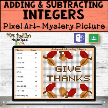 Adding and subtracting Integers Pixel Art mystery Picture