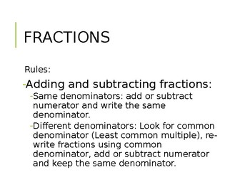 Adding and subtracting decimals and fractions