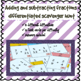 Adding and subtracting fractions scavenger hunt with x 3 difficulties