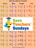 Adding and subtracting fractions worksheets (4 levels of difficulty)