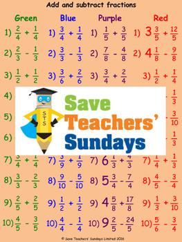 Adding and subtracting fractions worksheets (4 levels of d