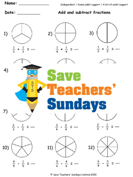 Adding and Subtracting Fractions on Diagrams Worksheets (4 levels of difficulty)