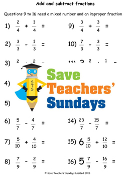 Adding and Subtracting Fractions (rectangular diagrams) Worksheets (4 levels)