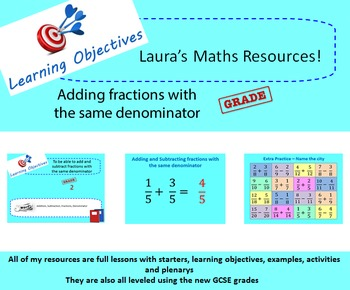 Adding and subtracting fractions with the same denominator