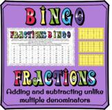 Adding and subtracting fractions with unlike (multiple) denominators BINGO