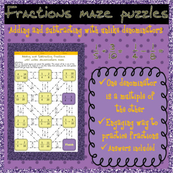 Adding and subtracting fractions with unlike (multiple) denominators mazes