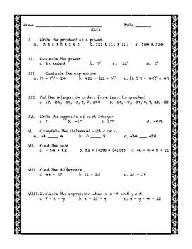 Adding and subtracting integer quiz