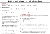 Adding and subtracting mixed number fractions- mastery worksheet