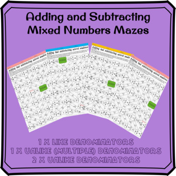 Adding and Subtracting Mixed Numbers Mazes