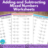 Adding and subtracting mixed numbers worksheets (differentiated)