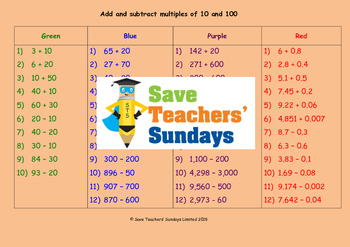 Adding and subtracting multiples of 10 and 100 lesson plans and worksheets