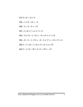Adding and subtracting positive and negative numbers worksheet (with solutions)