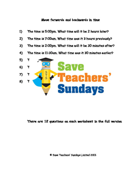 Adding and subtracting time worksheets (4 levels of difficulty)