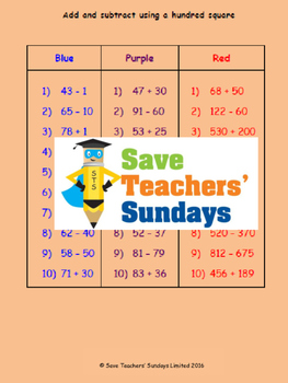 Adding and subtracting using a hundred square lesson plans