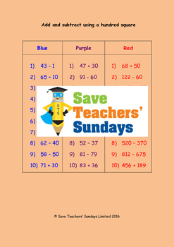 Adding and subtracting using a hundred square worksheets (3 levels)