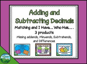 Adding and Subtracting Decimals Bundle - 3 Activities