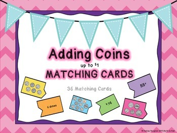 Adding coins to $1 Matching Puzzle Cards