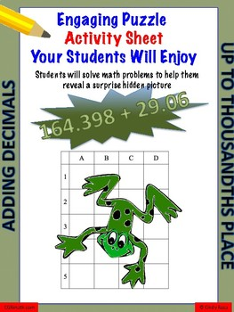 Adding, decimals fun puzzle activity worksheet (thousandths place)