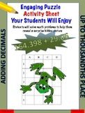 Adding, decimals fun puzzle activity worksheet (thousandth