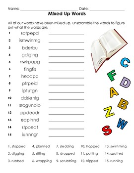 Adding –ed and –ing  Spelling Basic Word Work Packet
