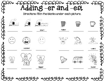 Adding -er and -est suffixes by Taylor-Made 1st Grade | TpT