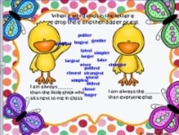 Adding er and est to Adjectives Springtime Smartboard